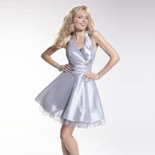 Hot Sale 2016 Silver Junior Bridesmaid Dresses Short Halter Or