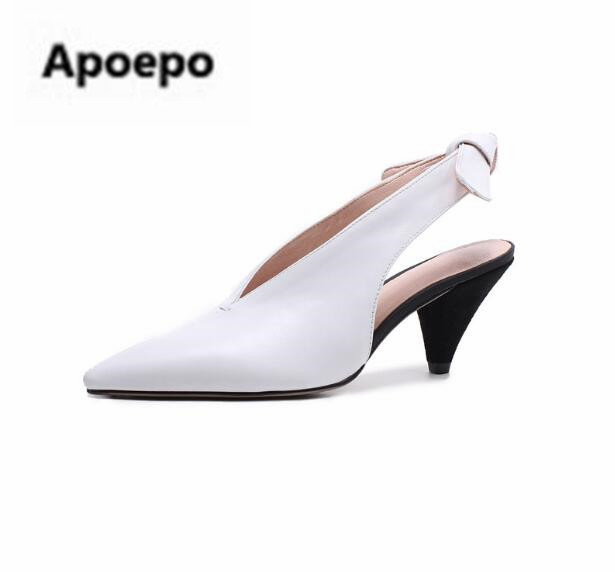 Apoepo summer women pumps sexy cut-outs med heels pumps spike heels stiletto shoes white black pig leather ladies shoes newest apoepo women high heels sandals sliver gold black ladies shoes summer rivet cut outs females shoes buckle strap bridal shoes