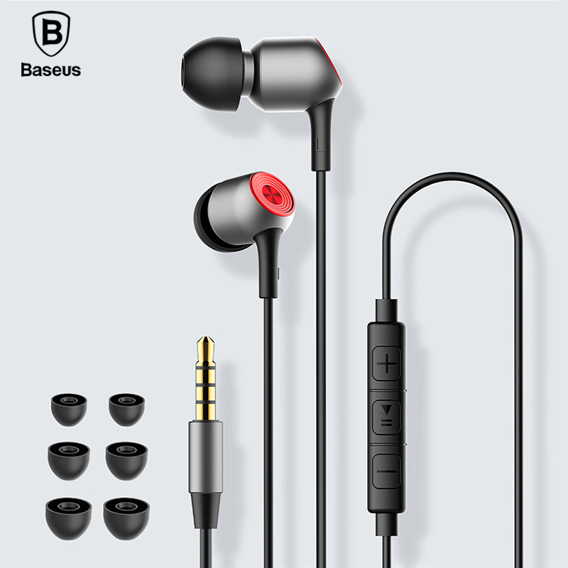 BASEUS Professional In-Ear Wired Earphone Metal Heavy Bass High fidelity Sound Quality Music H02 Earphone for smart phone