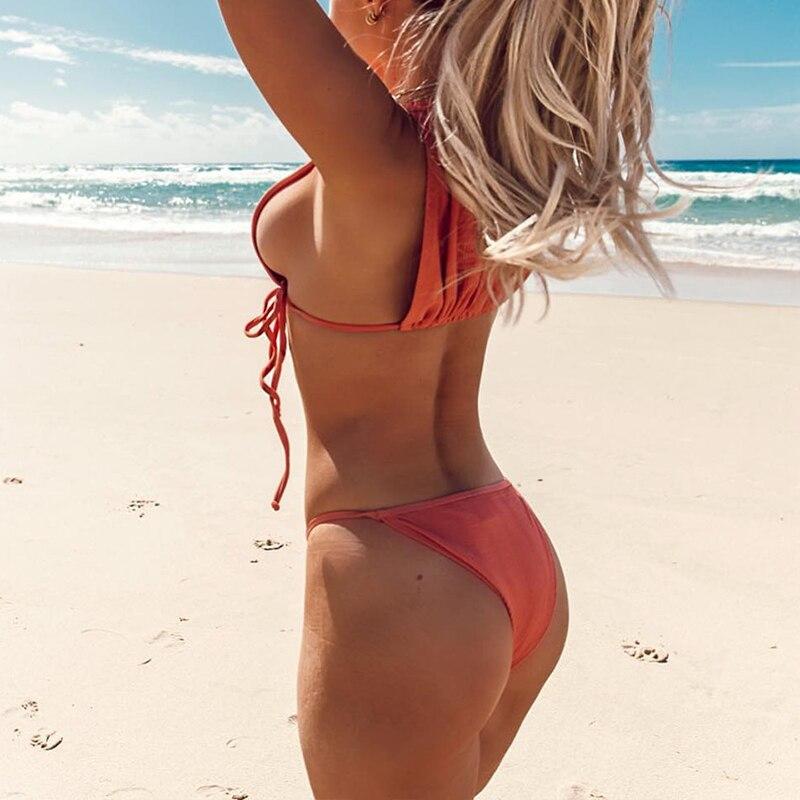 In-X Sexy high neck swimsuit female Orange bikini 2019 Tie up swimwear women High cut bathing suit Biquini 2 piece Beach wear 2