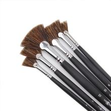 6pcs/Set Special offer Wild Boar Bristle brush pen set fan shape art supplies painting pen oil paint brush Student Stationery