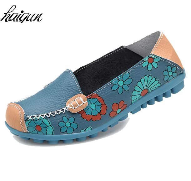 Women Flats Breathable Split Leather Floral Print Round Toe Slip-On Mom Shoes Summer Loafers Espadrilles Wome etro floral print espadrilles