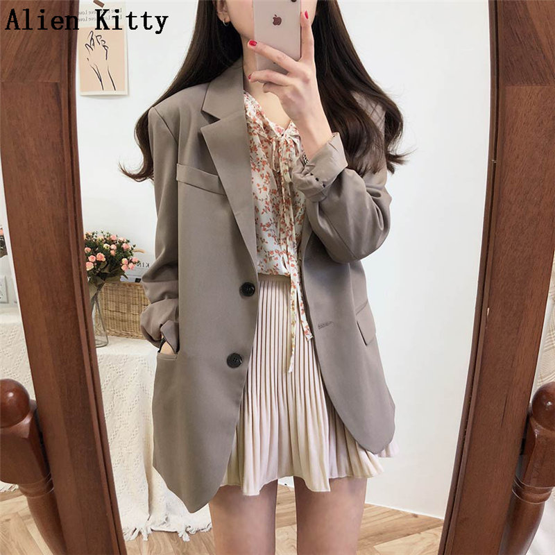 Alien Kitty New Office Lady Long Sleeve Elegant Style Solid Autumn Casual Blazer Women Single Breasted Female Coat Suit 2 Colors