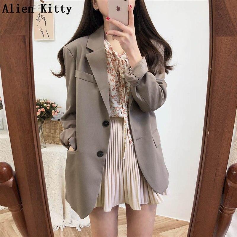 Alien Kitty nouveau bureau dame à manches longues Style élégant solide automne jolie pochette femmes simple boutonnage femme manteau costume 2 couleurs