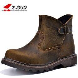 77b4bf214b39 Z. suo Мужские ботинки Качество кожи Модный комплект с пряжкой ботинки  человек для отдыха модные