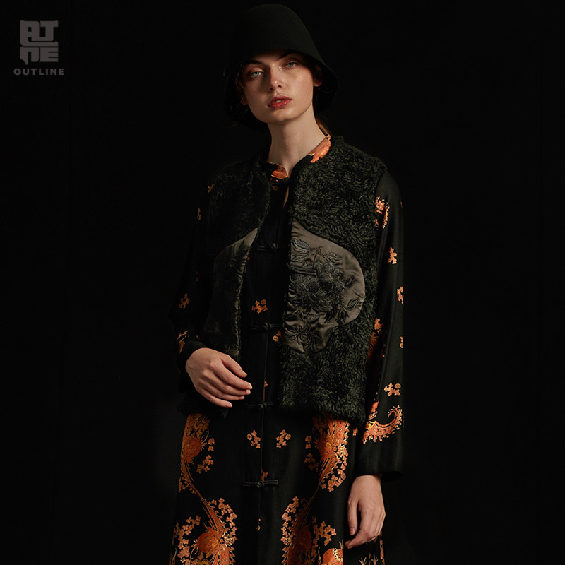 Outline Women Autumn Winter Black Casual Waistcoat Embroidery Single Button Spliced Short O Neck Solid Plus