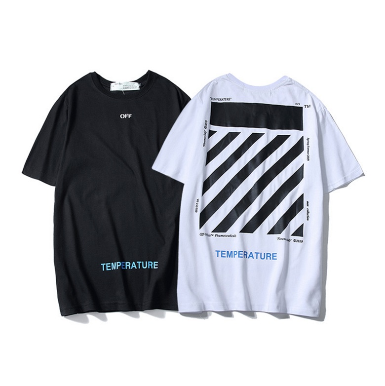 Blanc cassé C/O VIRGIL ABLOH streetwear nouveaux hommes rue hip hop zèbre ligne rayé à manches courtes T-shirt mâle petite amie cadeau