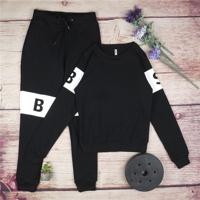 33f64863c72cb Winter Outfit Black Gray Sport Suit Women Cotton Legging Running Ensemble  Jogging Femme Sets Letter Print