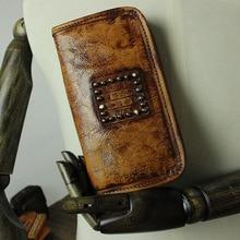 New Original Design Vintage Handmade Women Man Retro Cowhide Genuine Cow Leather Wallet Rivets Personalized Card Holder Purse