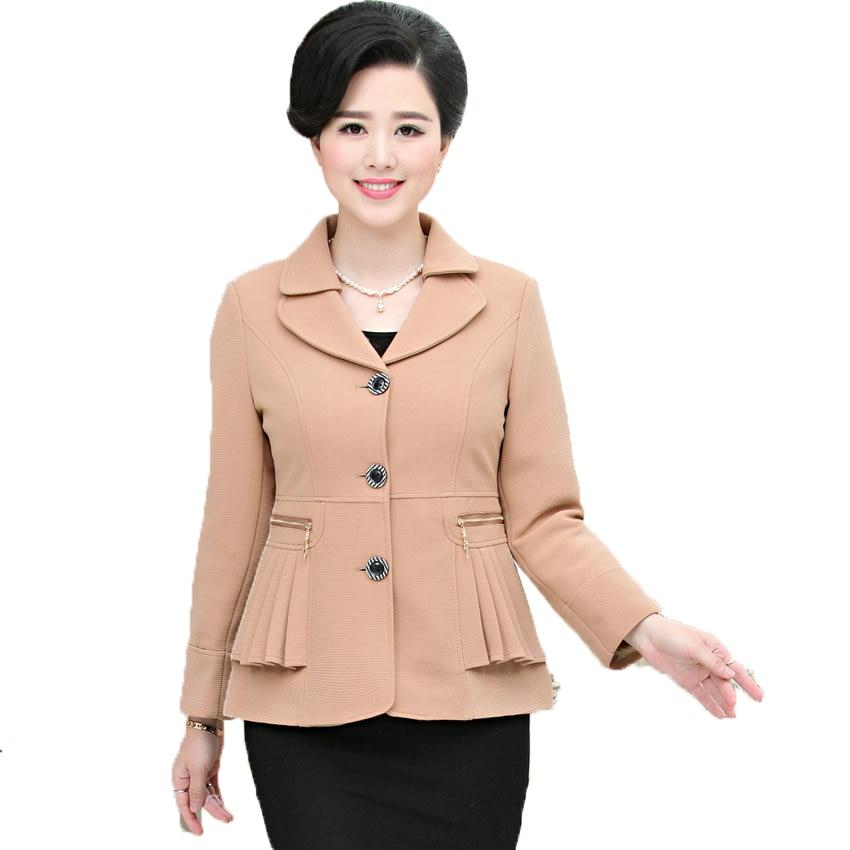2017 الصينية امرأة عارضة السترة الكاكي أسود أزرق أخضر أحمر مكتب البدلة سترة منتصف العمر المرأة سترة سيدة معطف الأعمال