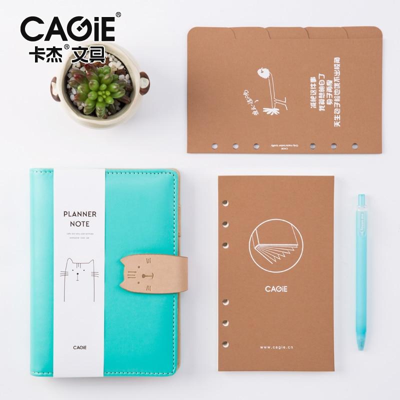 CAGIE Spiral Kawaii Cat Sketchbook Diary A6 Day Planner Agenda Filofax School Supplies Pu Leather Noteboos