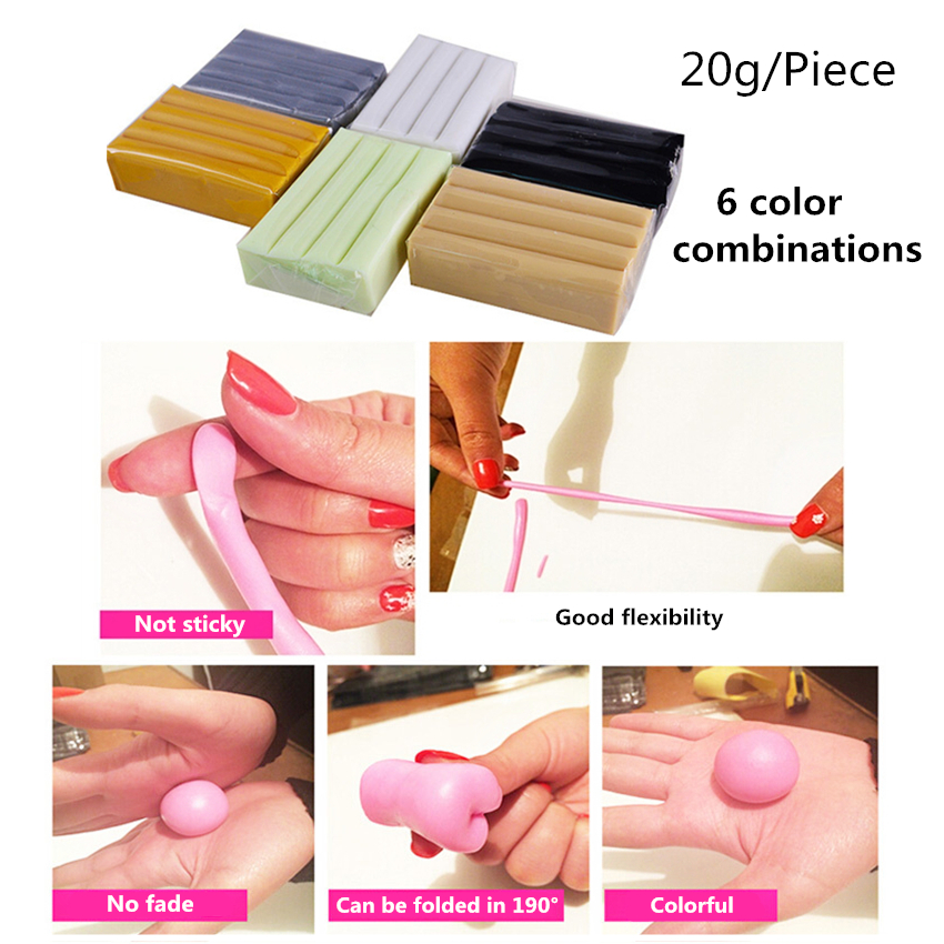 DIY 6 Colors Soft Charm Fimo Clay Safe Modelling Polymer Clay Oven Harden Plasticine Kit Tools Slime Toys Set For Children Gifts
