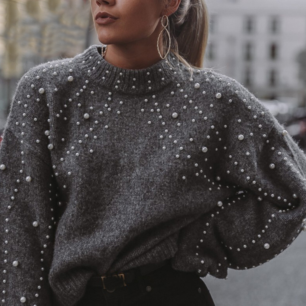 Casual Winter Warm Soft Turtleneck Knitted Sweaters Women Lantern Sleeve Pearl Beading Jumper Sweater Female Loose Gray Pullover