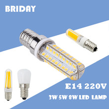 Mini 1pcs Refrigerator Light lights E14 LED Lamp 2W 3W 4W 5W 6W 8W 2835 3014 SMD Bulbs 2609 COB AC 220V lights(China)