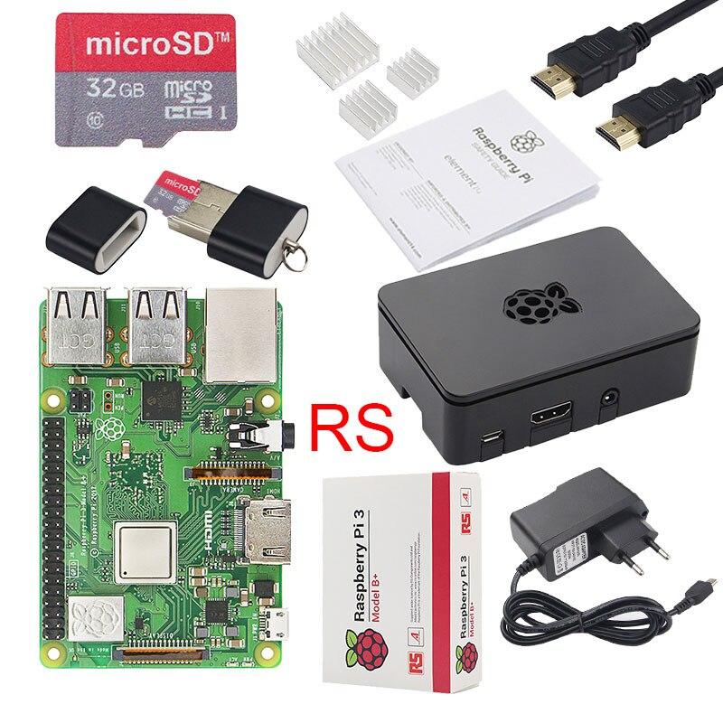Original Raspberry Pi 3 Modelo B + Plus UK hecho Kit pulgadas pantalla táctil de 3,5 + carcasa + potencia + 32 GB SD + HDMI + disipador térmico + Cable USB - 3