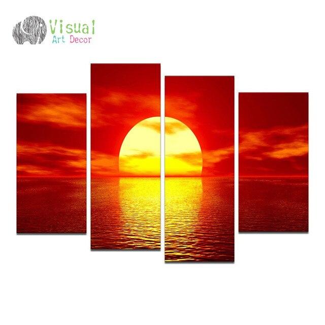 Top Grandi Dimensioni Paesaggio Su Tela Wall Art Oro Alba Rossa Sun  VZ91