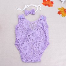 Baby Photography Props Headband Backless Hollow Bowknot Lace Romper Newborn Girls Cotton Outfit(China)