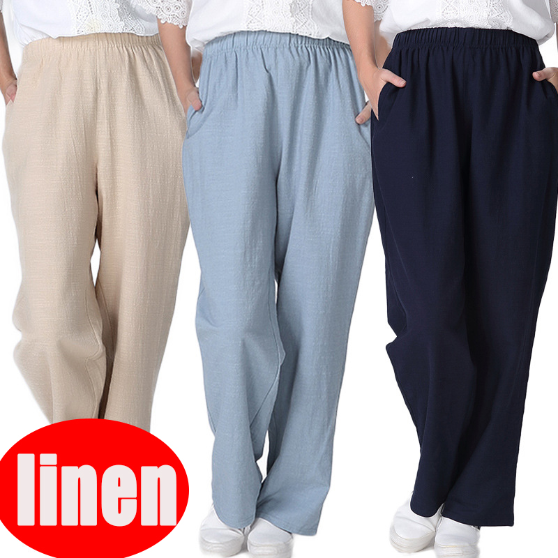 2018 Spring Summer New Women's Casual Linen Trousers Pants High Quality Home Wear Loose Cotton Linen Pants Plus Size 2xl-7xl