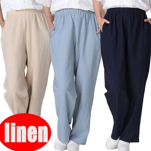 2018 אביב הקיץ חדש נשים מזדמנים פשתן מכנסיים מכנסיים באיכות גבוהה בית ללבוש רופף כותנה פשתן מכנסיים בתוספת גודל 2xl-7xl