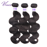 VIVACE hair 3 Bundles Brazilian Body Wave Hair Bundles Natural Color Remy Human Hair Weave Weft 10 inch To 24 inch