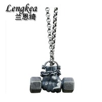 Men choker 925 sterling silver necklace personality Vintage Power fist Dumbbell pendant fashion men necklace accessories gifts