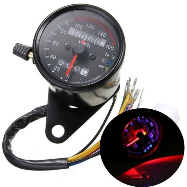 65 mm Black Face LED Jauge de compteur kilom/étrique de moto Jauge de compteur de moto