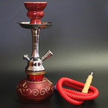 Red glass narguile hookah complete set with unique shisha stem ceramic smoking bowl water pipe single hose chicha free shipping