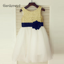 Gardenwed 2019 Sequin Flower Girl Dresses For Weddings Birthday Party Gowns First Communion Dresses Navy Blue Sash недорого