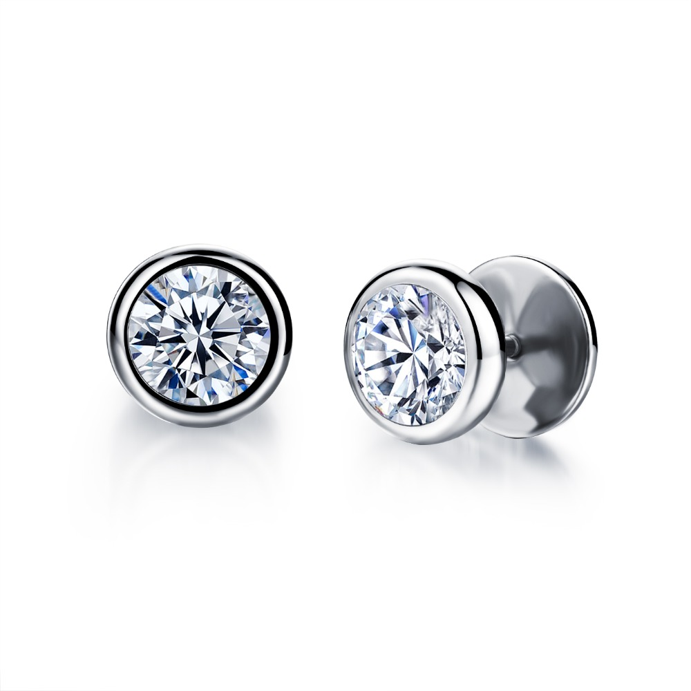 FATE LOVE Earing for Men Silver color Stainless Steel Boy Male Stud Earrings Charms Fashion Jewelry White Black