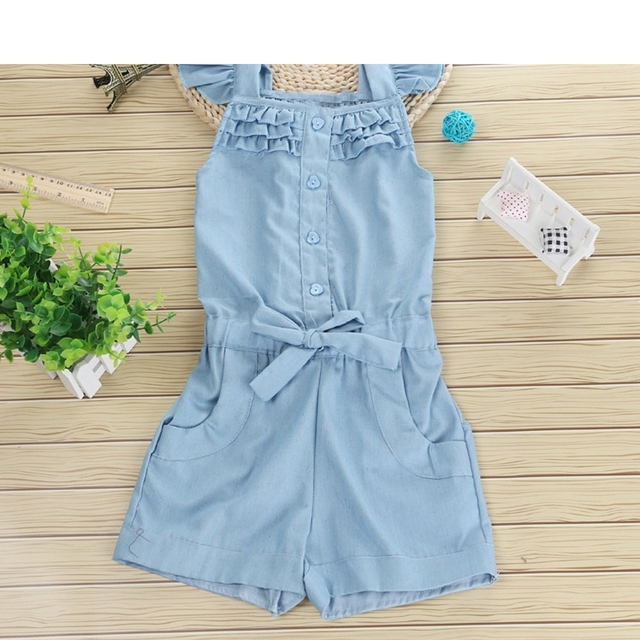 6d72339c4725a 2018 Fashion Blue Toddler Baby Kids Girls Denim Romper Bow Solid Sleeveless Jumpsuit  Clothes Outfit Sunsuit