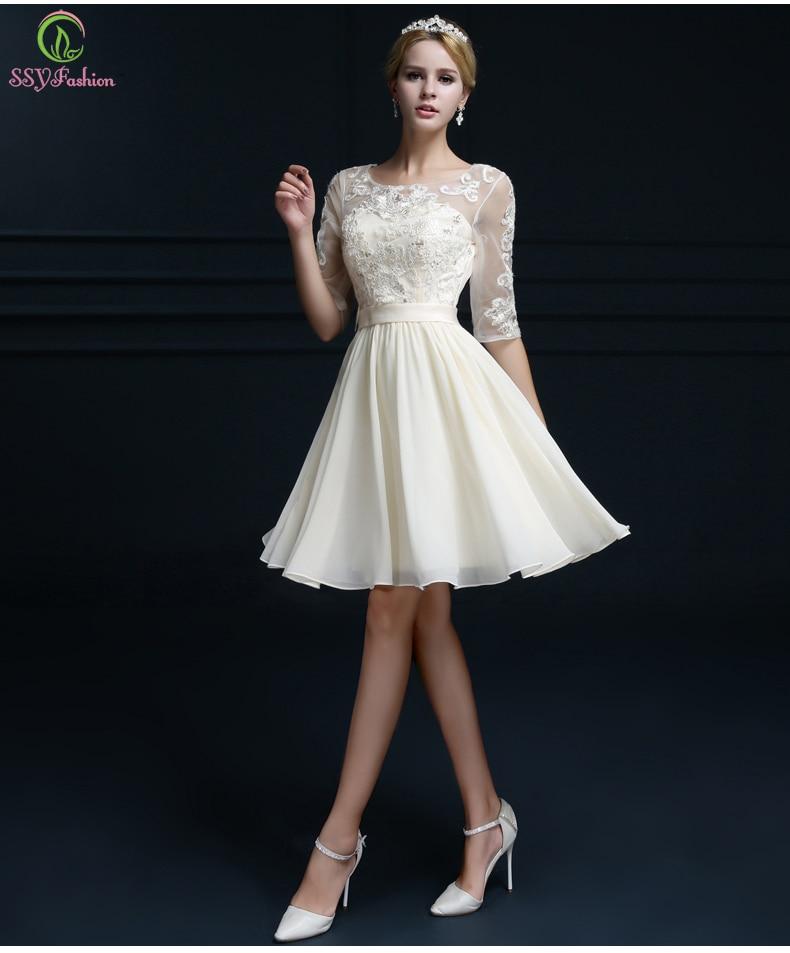 Buy champagne color evening dress 2016 for Formal short dresses for weddings