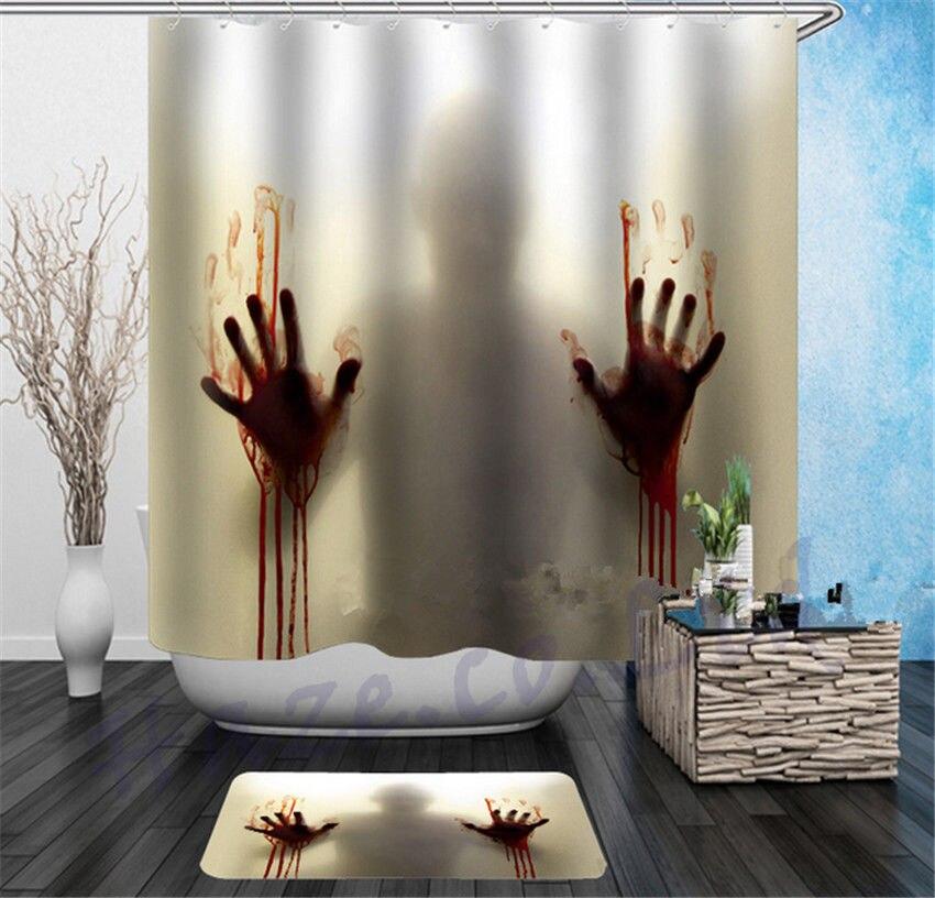 Halloween Horror Bath Shower Curtain Bloody Hands Creepy