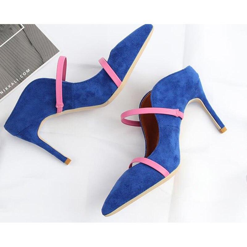 Talon Sangle Mules Femmes Sandales Mince Bout Nouveau Mode De Pointu nHZx11Iq