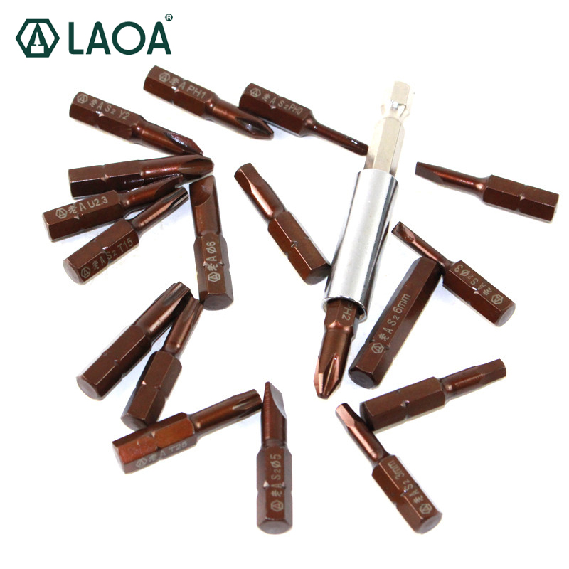 цена на LAOA 20 in 1 screwdriver bits set S2 alloy steel Slotted Phillips Torx Y-types bits with 10grids case magnetic prolong rod