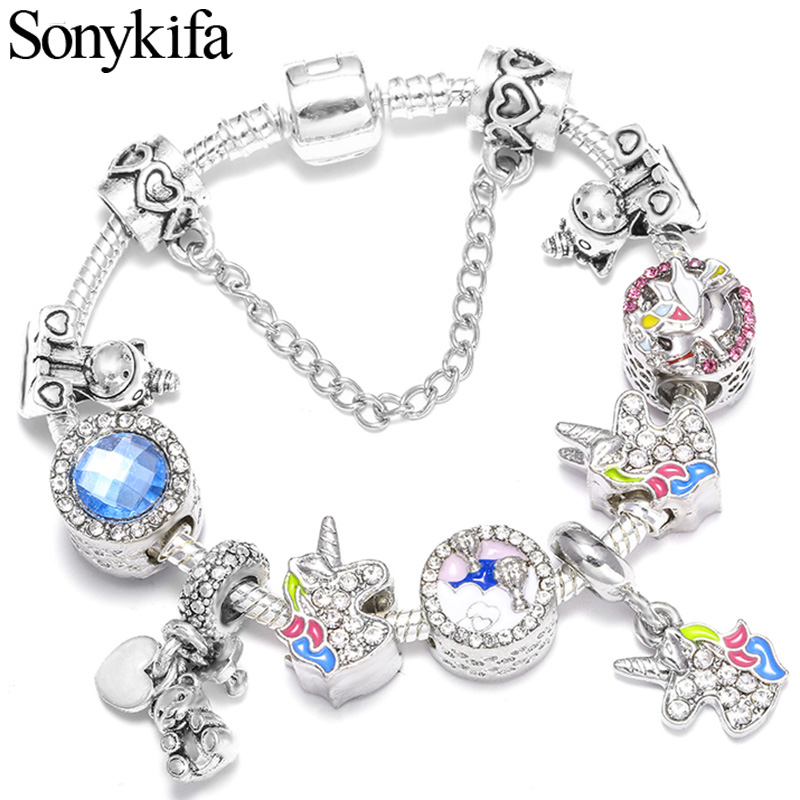 Original Colorful Enamel Unicorn Bracelet Pandora Bangle with Crystal Beads Charm Bracelet for Women DIY Fashion Jewelry(China)