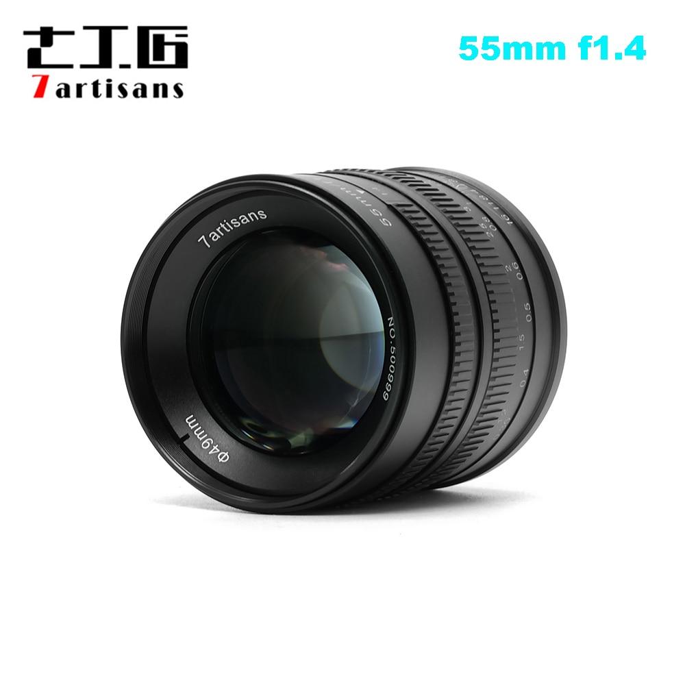 7 artesãos 55mm F1.4 Retrato Grande Abertura Prime Lens para Sony E Mount para Fuji M4/3- montar EOS-M Montar A6300 A6500 X-A1 G5 M5