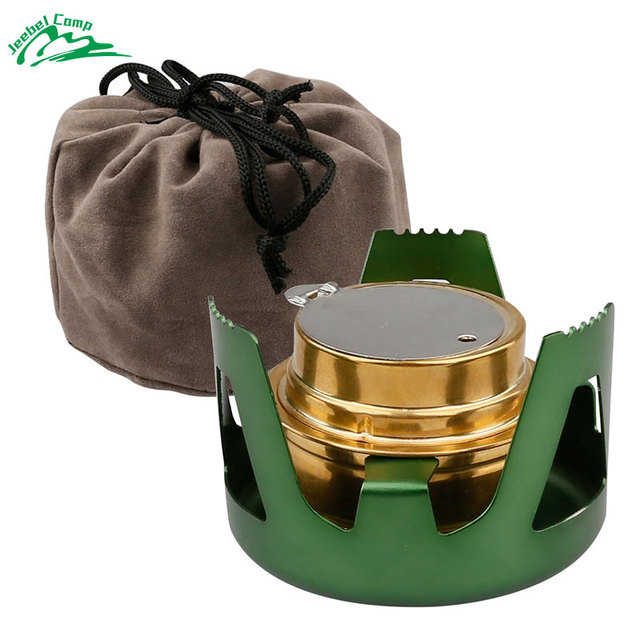 Portable Alcohol Stove Aluminium Alloy Brass Mini Burners for Outdoor Camping Hiking Backpacking Picnic Survival
