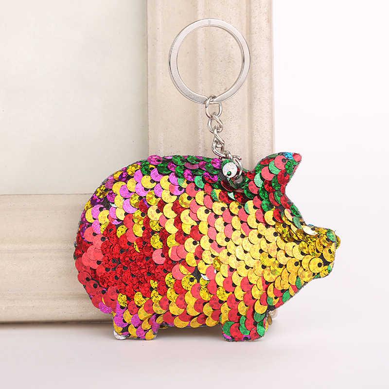 Lantejoulas Presentes Chaveiro para As Mulheres Bonito Chaveiro Porco Chaveiro Llaveros Mujer Glitter Pompom Saco Chave Acessórios Do Carro Anel