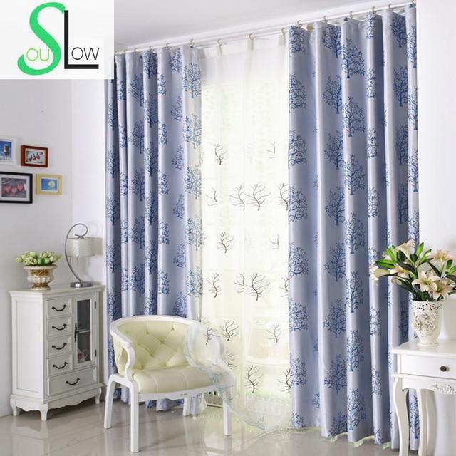 Slow Soul árbol rico Cortinas Europea simple cortina jacquard planta ...