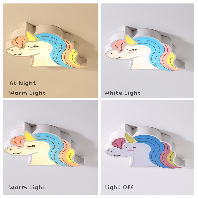 Unicorn kids room light led ceiling lights with remote control cartoon lampshade children room cute ceiling Unicorn kids room light led ceiling lights with remote control cartoon lampshade children room cute ceiling lamp deco child room