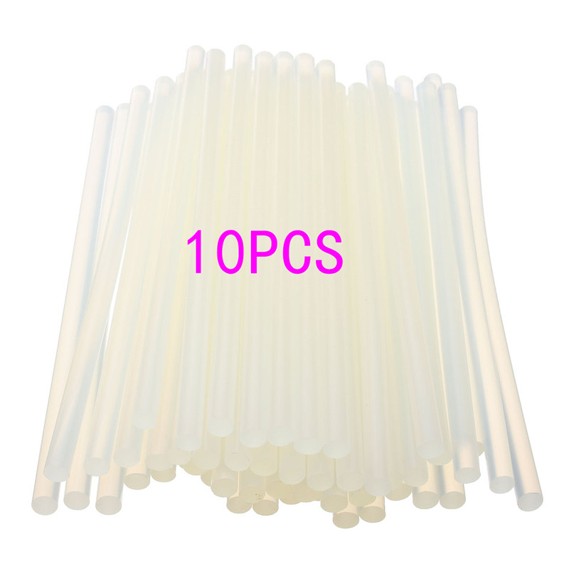 New 10 pcs 7mmx190mm Clear Glue Adhesive Sticks For Hot Melt Gun Car Audio Craft transparent For Alloy Accessories glue sticks 15 lbs clear economy glue sticks 7 16 x 10 270 sticks