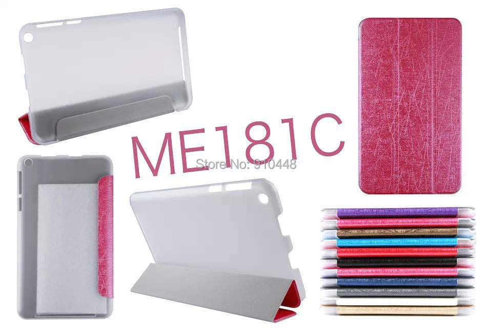 3 Folding Folio Ultra Slim Silk PU Leather stand Cover transparent back Case for Asus MeMO Pad 8 Me181 ME181c with Screen film