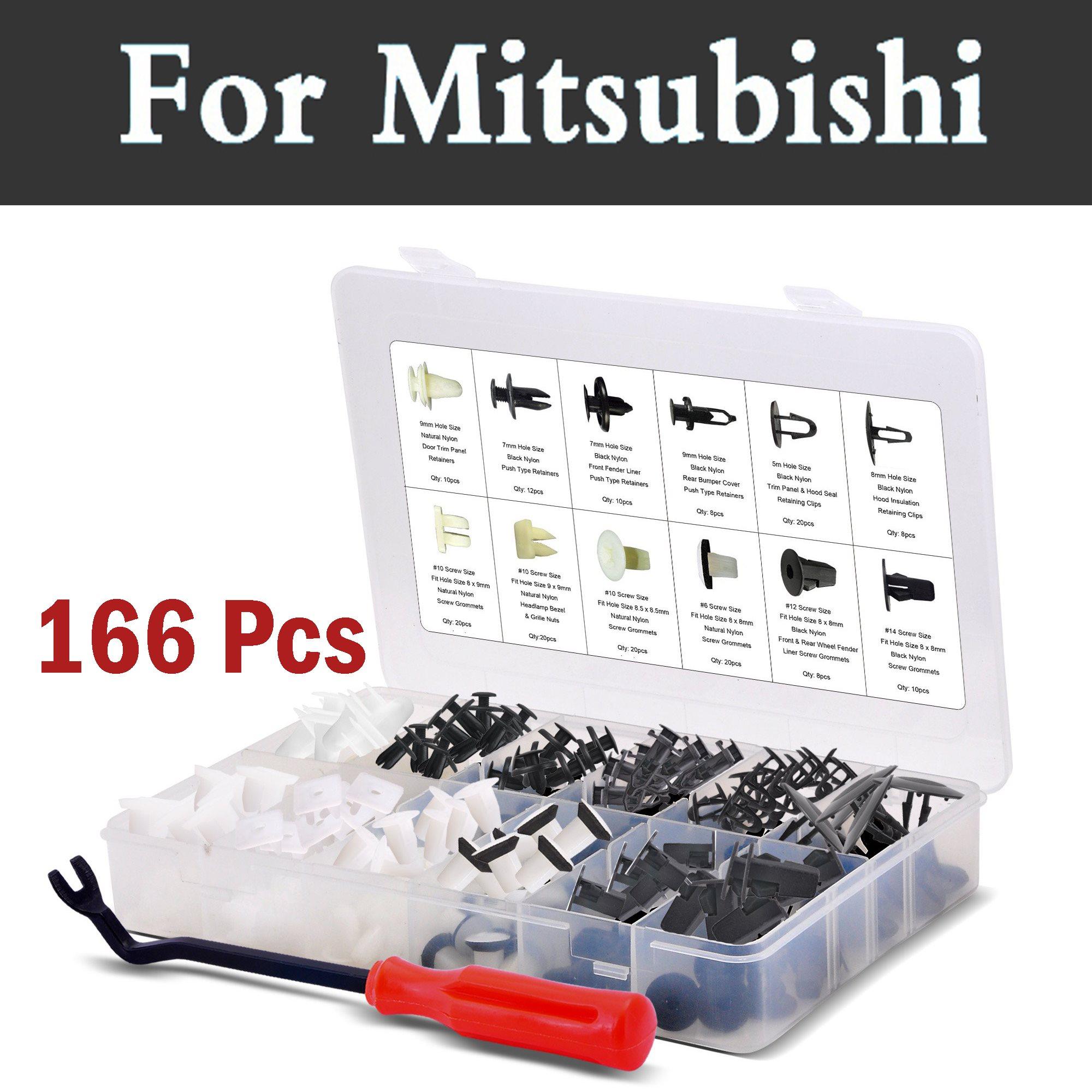 166x Car Panel Body Assortment Retainers Rivets For Mitsubishi Airtrek Attrage Carisma Challenger Colt Eclipse Endeavor