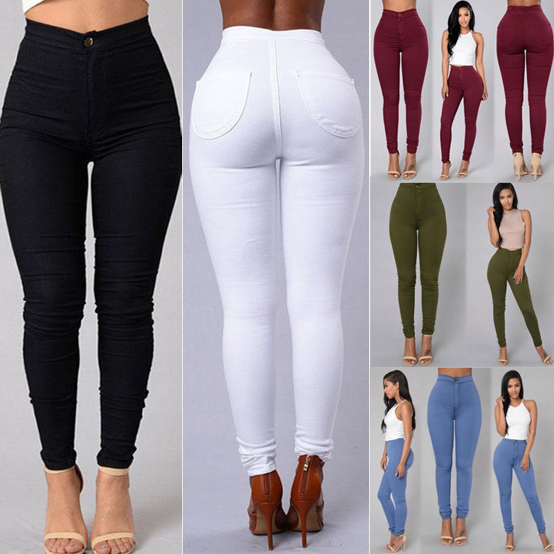 Women Denim Skinny Leggings Pants 2018 New Arrive High Waist Stretch Jeans Slim Pencil Trousers Army Green White Red Blue Black