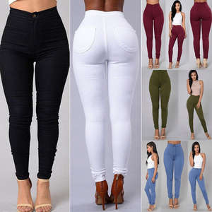 Leggings Pants Jeans Pencil-Trousers Blue Black White Army-Green High-Waist Women Stretch