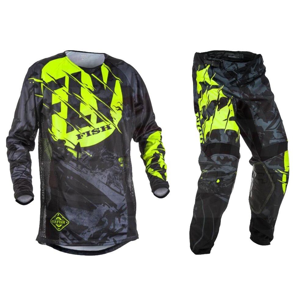 Mouche poissons pantalons & Jersey Combos Motocross MX combinaison de course Moto Moto Dirt Bike MX ATV ensemble de vitesse