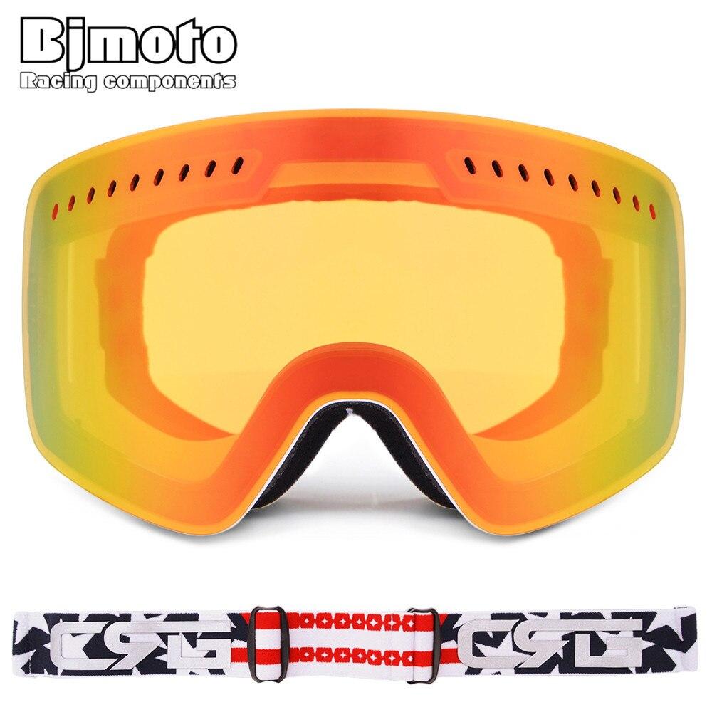 Bjmoto мотоцикл очки гонки лыжные очки маска двойной линзы 3 Слои пены сноуборд Анти-туман Лыжный Спорт очки Óculos