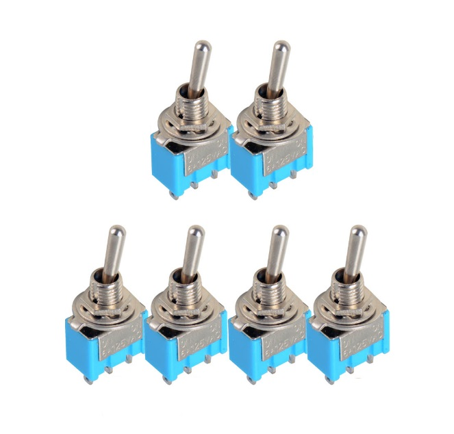 2 Pcs Mini MTS-102 3-Pin SPDT ON-ON 6A 125VAC Toggle Switches NEW