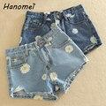 New Daisy Floral Impressão das Mulheres Shorts Jeans 2017 Verão Meados de Cintura Shorts Jeans Curto calças de Brim Magros Rasgadas Feminino Feminino C371