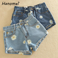 New Daisy Floral Print Women's Denim Shorts 2017 Summer Mid Waist Short Jeans Slim Ripped Female Jeans Shorts Feminino C371